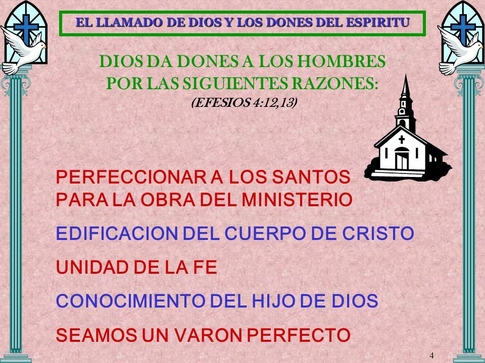 EL LLAMADO DE DIOS Y LOS DONES DEL ESPIRITU
