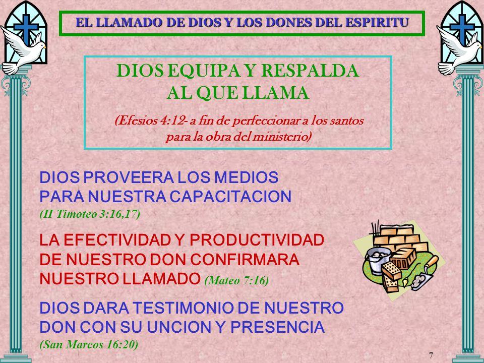 DIOS EQUIPA Y RESPALDA AL QUE LLAMA