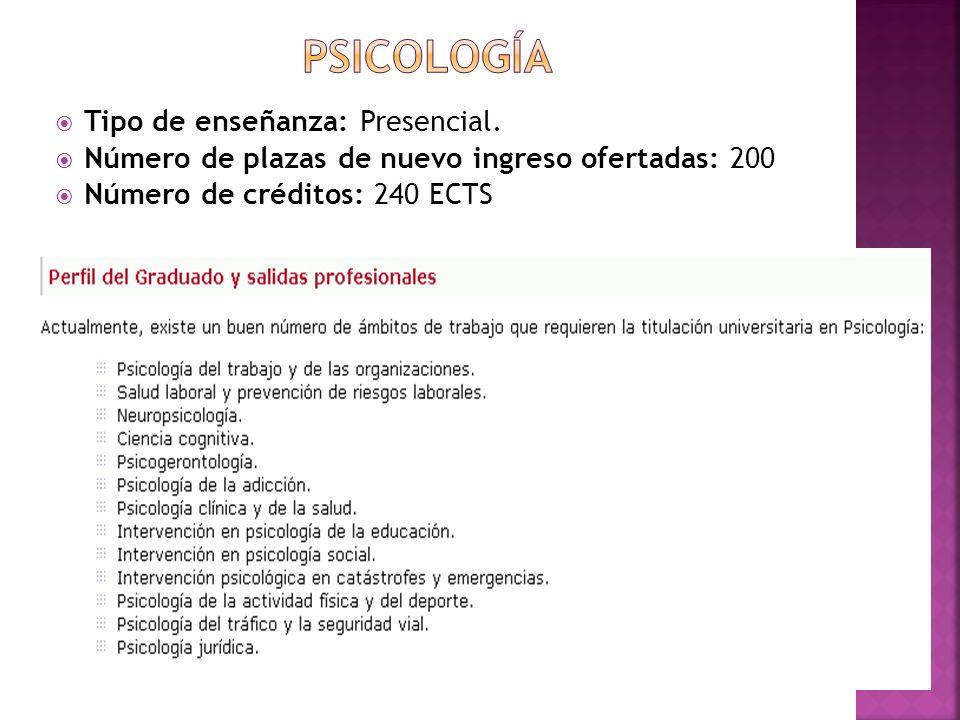 PSICOLOGÍA Tipo de enseñanza: Presencial.