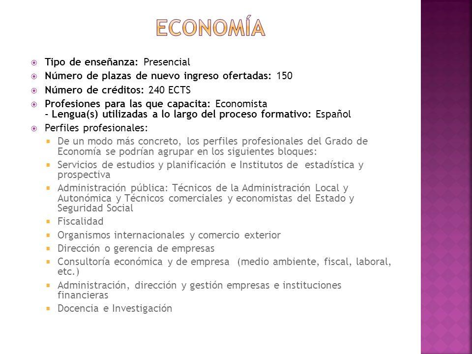 economía Tipo de enseñanza: Presencial