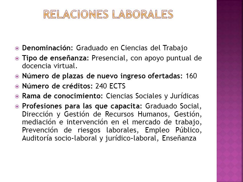 Relaciones laborales Denominación: Graduado en Ciencias del Trabajo