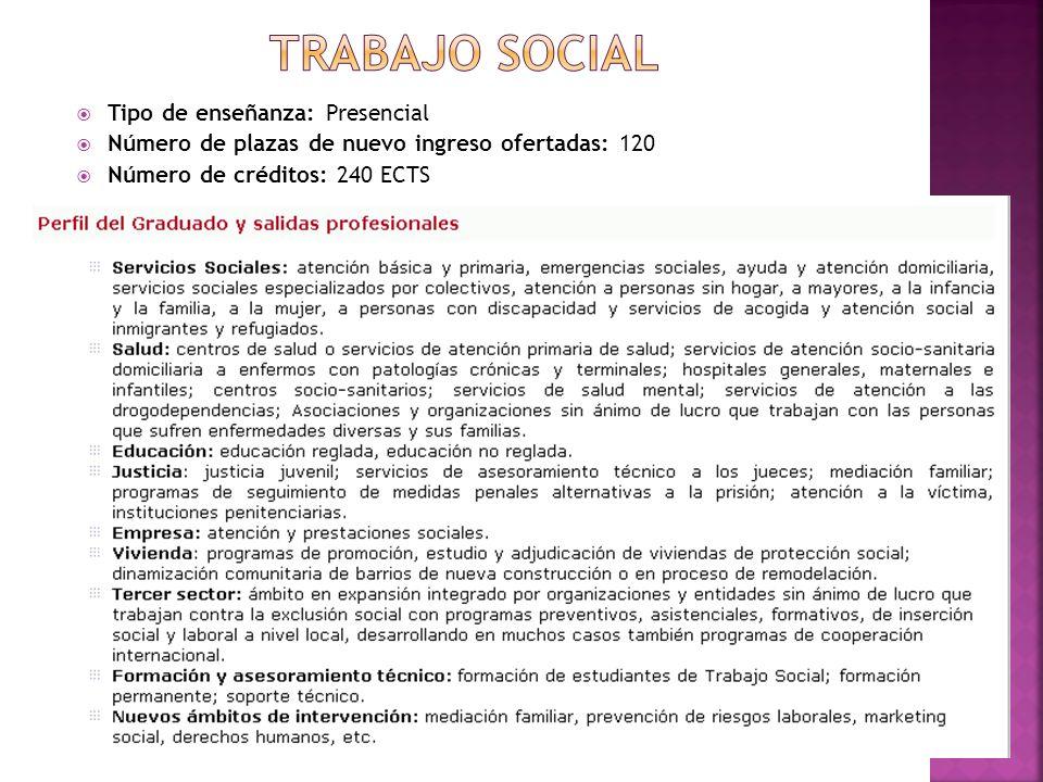 TRABAJO SOCIAL Tipo de enseñanza: Presencial