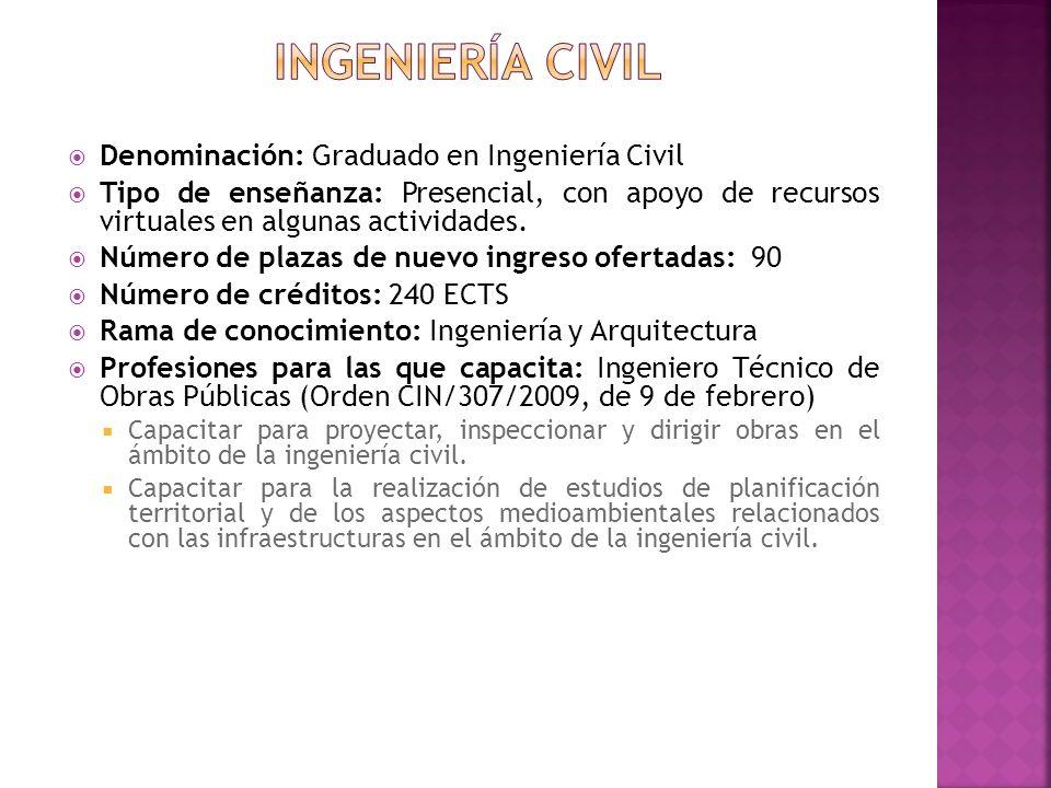Ingeniería civil Denominación: Graduado en Ingeniería Civil