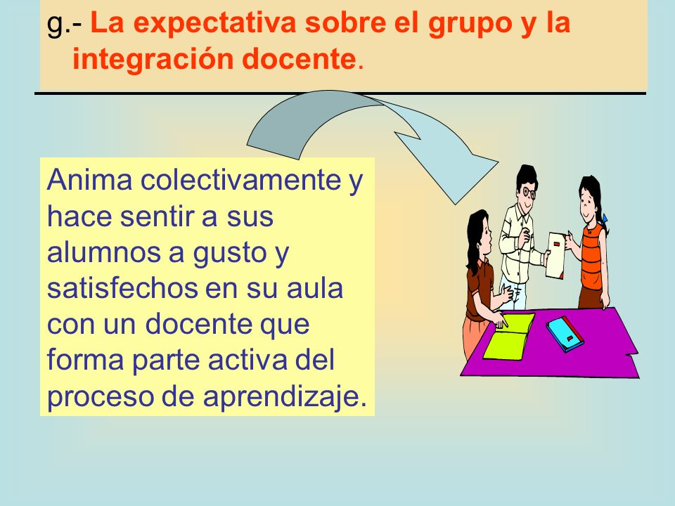 g.- La expectativa sobre el grupo y la integración docente.