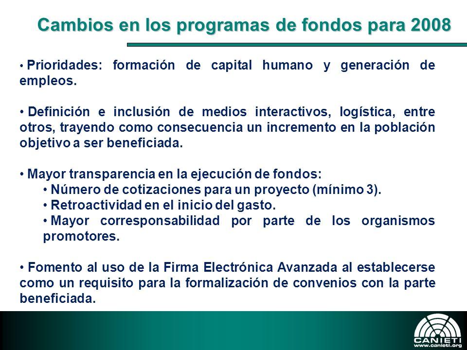 Cambios en los programas de fondos para 2008