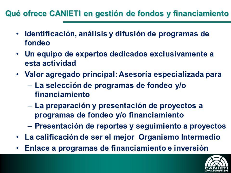 Qué ofrece CANIETI en gestión de fondos y financiamiento
