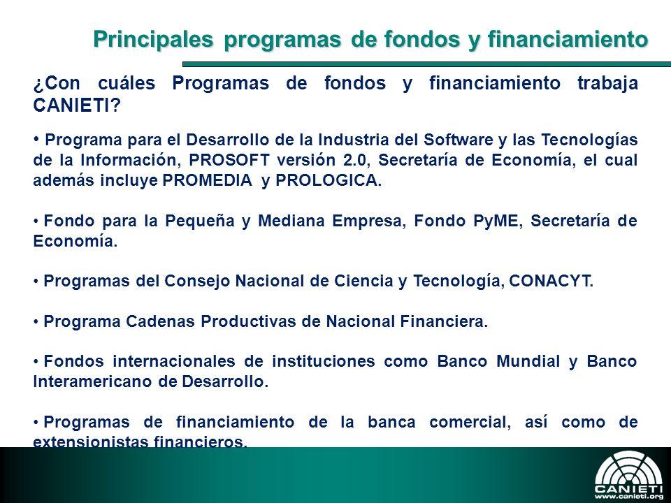 Principales programas de fondos y financiamiento