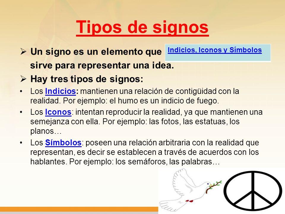 Tipos de signos Un signo es un elemento que