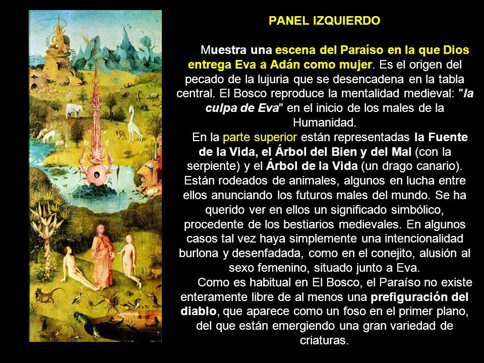 PANEL IZQUIERDO Muestra una escena del Paraíso en la que Dios entrega Eva a Adán como mujer.