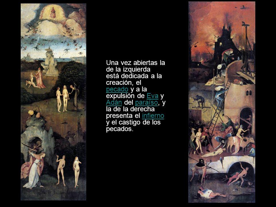 Una vez abiertas la de la izquierda está dedicada a la creación, el pecado y a la expulsión de Eva y Adán del paraíso, y la de la derecha presenta el infierno y el castigo de los pecados.