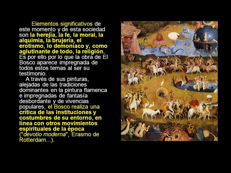 Elementos significativos de este momento y de esta sociedad son la herejía, la fe, la moral, la alquimia, la brujería, el erotismo, lo demoníaco y, como aglutinante de todo, la religión.