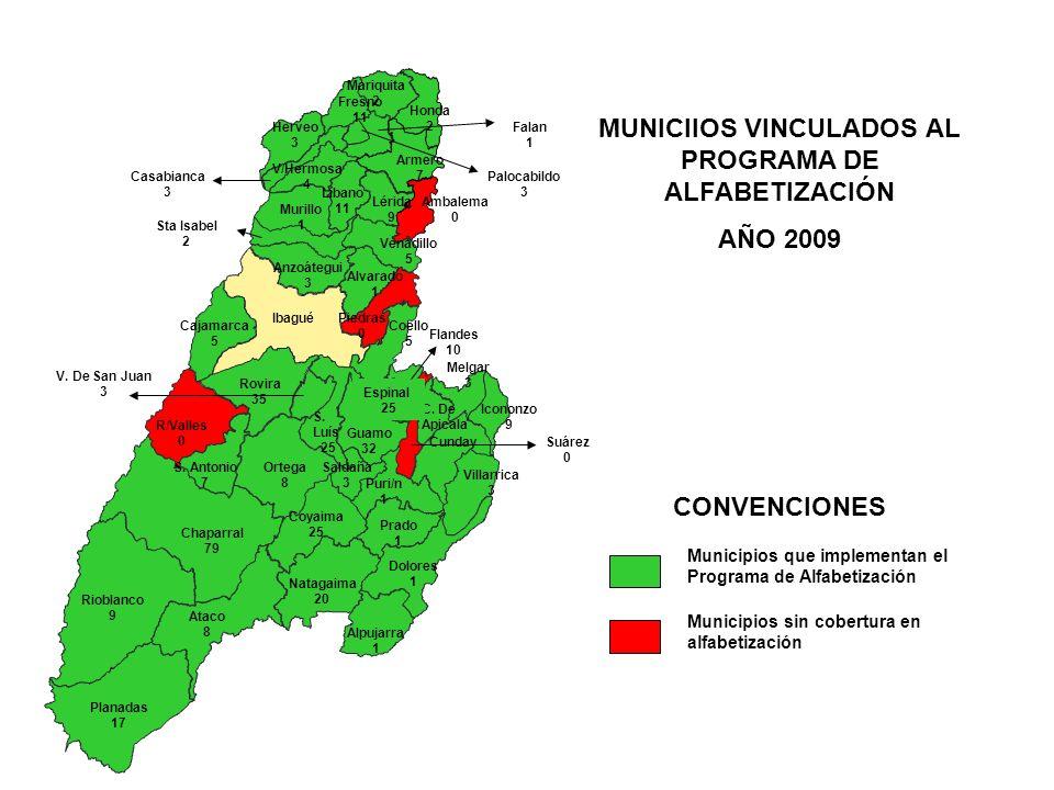 MUNICIIOS VINCULADOS AL PROGRAMA DE ALFABETIZACIÓN