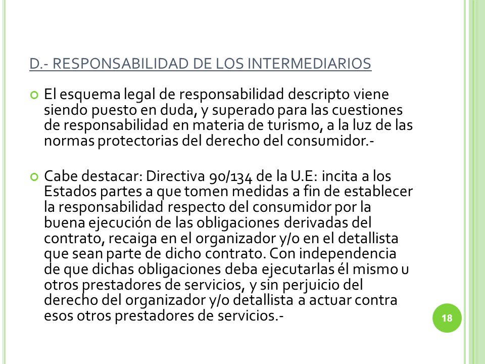 D.- RESPONSABILIDAD DE LOS INTERMEDIARIOS
