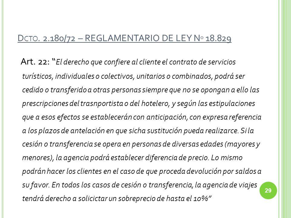 Dcto. 2.180/72 – REGLAMENTARIO DE LEY Nº 18.829
