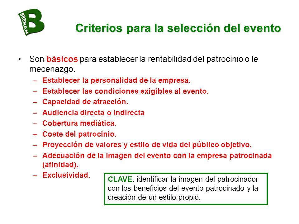 Criterios para la selección del evento