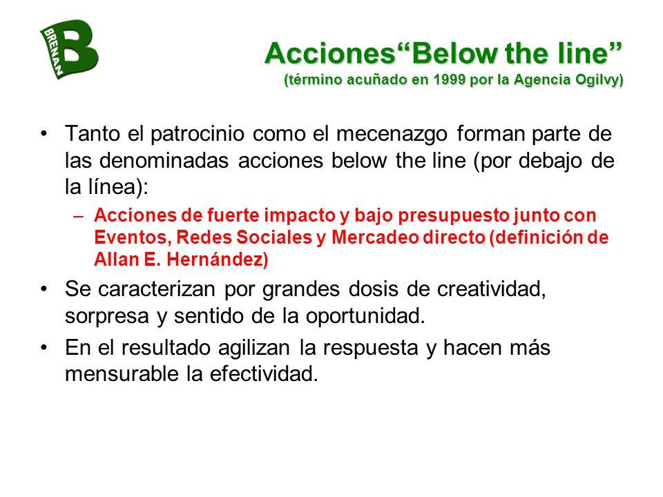 Acciones Below the line (término acuñado en 1999 por la Agencia Ogilvy)