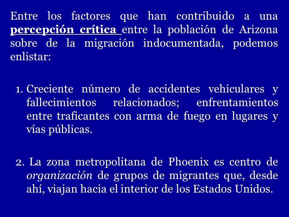 Entre los factores que han contribuido a una percepción crítica entre la población de Arizona sobre de la migración indocumentada, podemos enlistar: