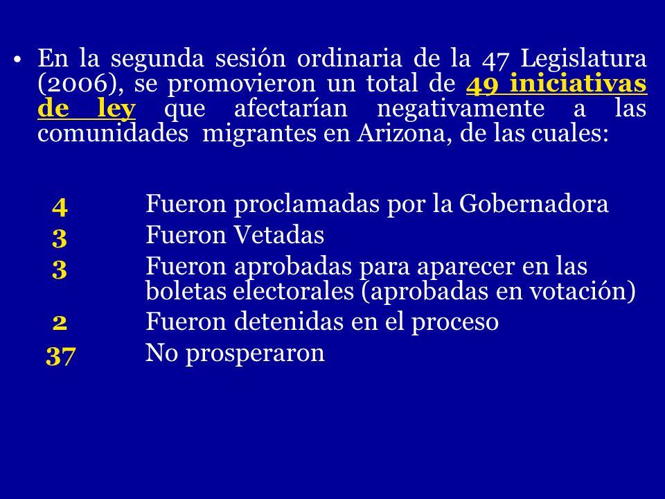 En la segunda sesión ordinaria de la 47 Legislatura (2006), se promovieron un total de 49 iniciativas de ley que afectarían negativamente a las comunidades migrantes en Arizona, de las cuales: