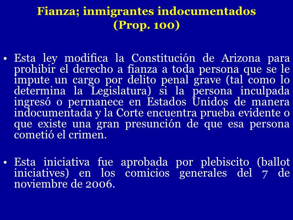 Fianza; inmigrantes indocumentados
