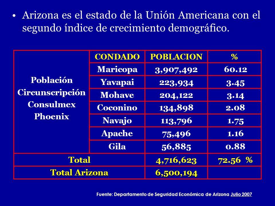 Fuente: Departamento de Seguridad Económica de Arizona Julio 2007