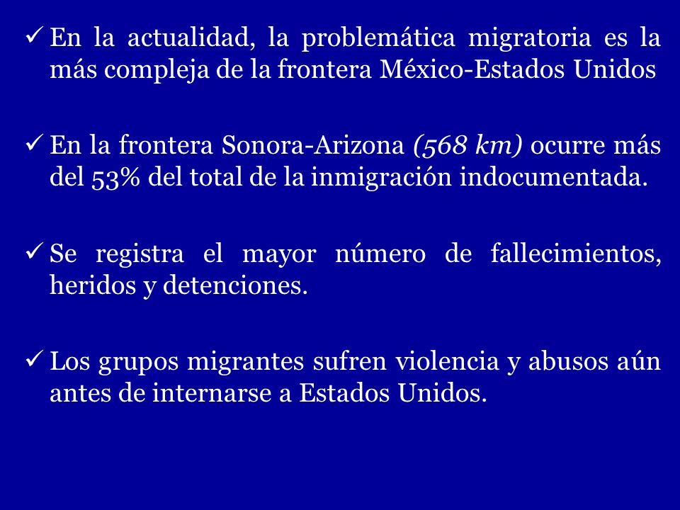 En la actualidad, la problemática migratoria es la más compleja de la frontera México-Estados Unidos