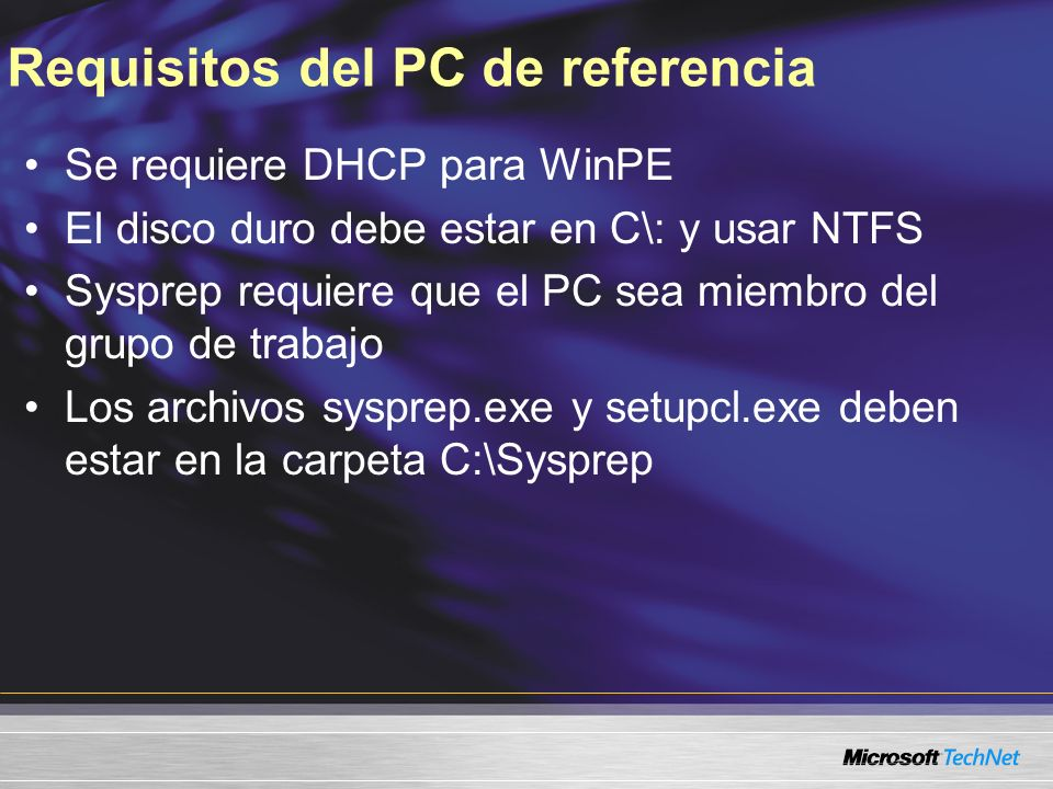 Requisitos del PC de referencia