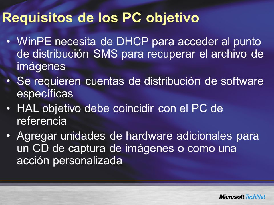 Requisitos de los PC objetivo