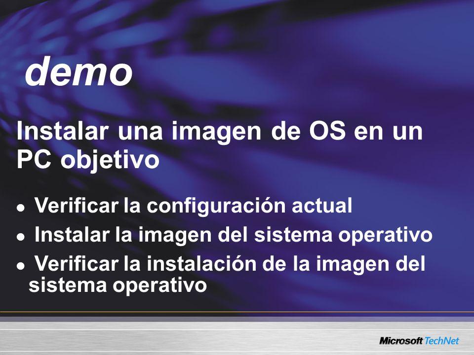 demo Instalar una imagen de OS en un PC objetivo Demo