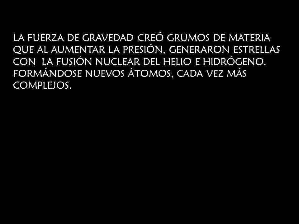 LA FUERZA DE GRAVEDAD CREÓ GRUMOS DE MATERIA QUE AL AUMENTAR LA PRESIÓN, GENERARON ESTRELLAS CON LA FUSIÓN NUCLEAR DEL HELIO E HIDRÓGENO, FORMÁNDOSE NUEVOS ÁTOMOS, CADA VEZ MÁS COMPLEJOS.