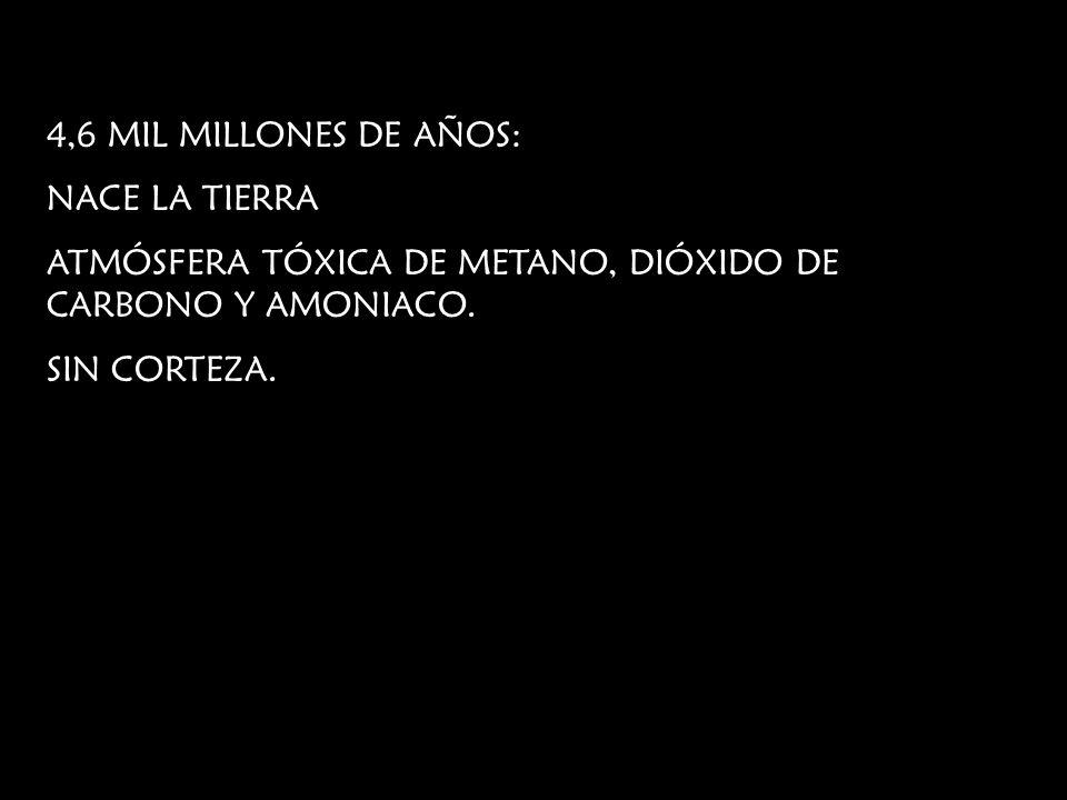 4,6 MIL MILLONES DE AÑOS:NACE LA TIERRA. ATMÓSFERA TÓXICA DE METANO, DIÓXIDO DE CARBONO Y AMONIACO.