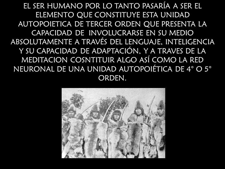 EL SER HUMANO POR LO TANTO PASARÍA A SER EL ELEMENTO QUE CONSTITUYE ESTA UNIDAD AUTOPOIETICA DE TERCER ORDEN QUE PRESENTA LA CAPACIDAD DE INVOLUCRARSE EN SU MEDIO ABSOLUTAMENTE A TRAVÉS DEL LENGUAJE, INTELIGENCIA Y SU CAPACIDAD DE ADAPTACIÓN, Y A TRAVES DE LA MEDITACION COSNTITUIR ALGO ASÍ COMO LA RED NEURONAL DE UNA UNIDAD AUTOPOIÉTICA DE 4° O 5° ORDEN.