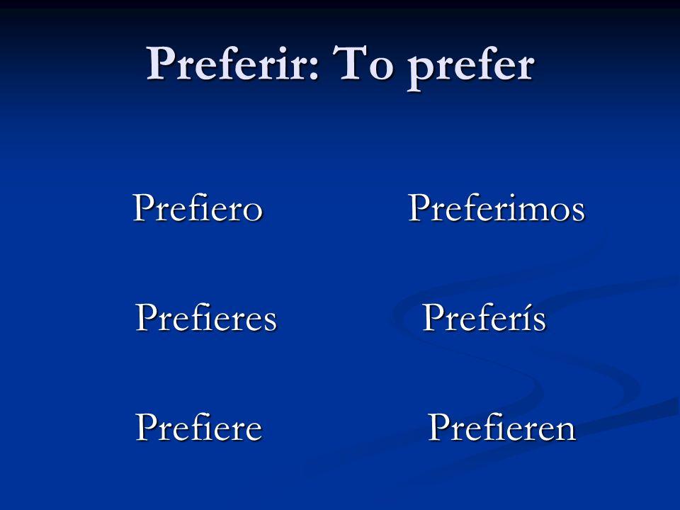 Preferir: To prefer Prefieres Preferís Prefiere Prefieren