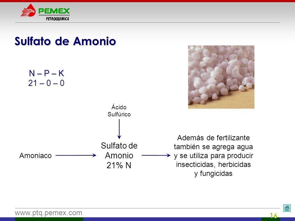 Sulfato de Amonio N – P – K 21 – 0 – 0 Sulfato de Amonio 21% N
