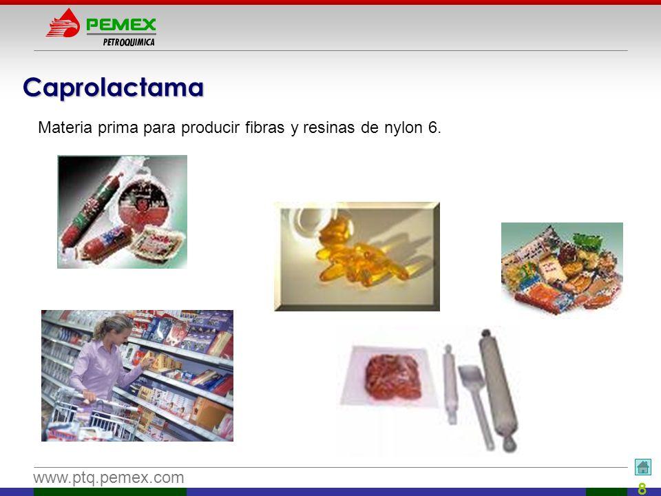 Caprolactama Materia prima para producir fibras y resinas de nylon 6.