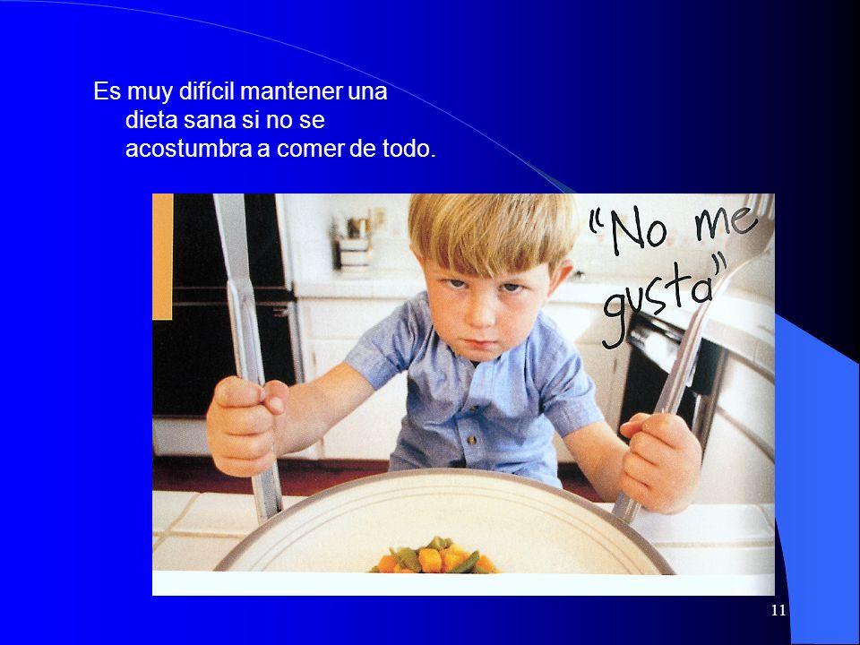 Es muy difícil mantener una dieta sana si no se acostumbra a comer de todo.