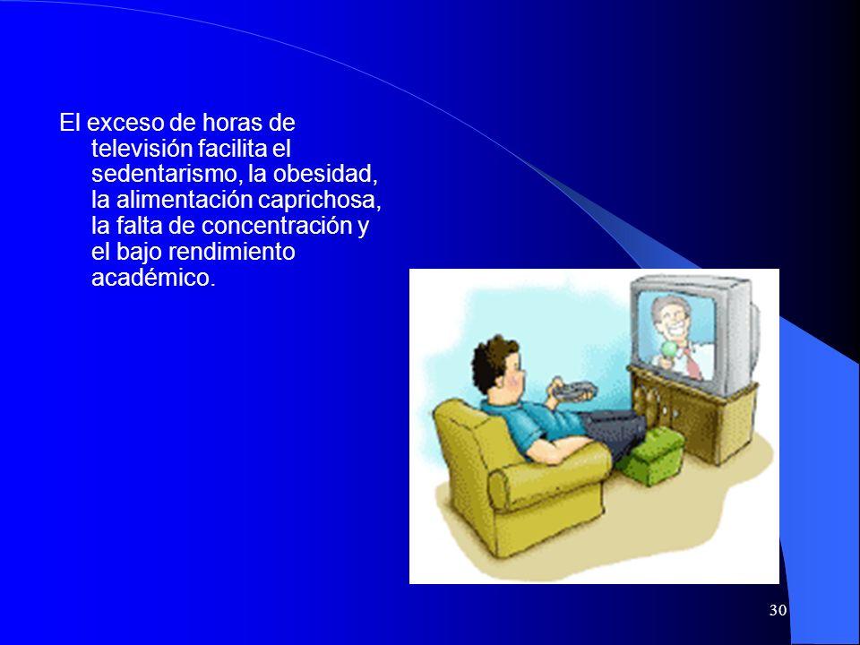El exceso de horas de televisión facilita el sedentarismo, la obesidad, la alimentación caprichosa, la falta de concentración y el bajo rendimiento académico.