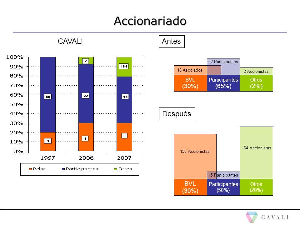Accionariado CAVALI Antes Después (30%) (65%) (2%) BVL (30%) BVL