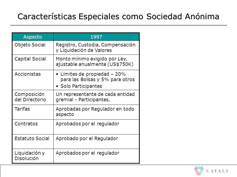 Características Especiales como Sociedad Anónima
