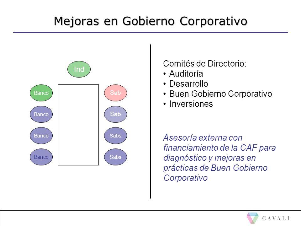 Mejoras en Gobierno Corporativo