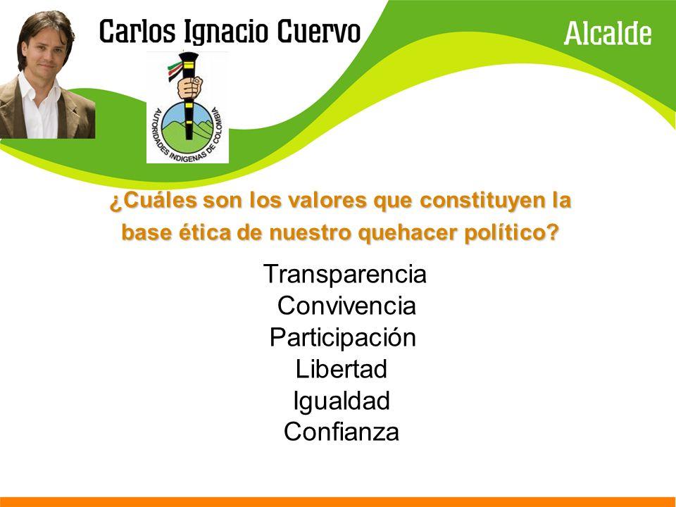 Transparencia Convivencia Participación Libertad Igualdad Confianza