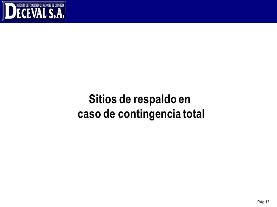 Sitios de respaldo en caso de contingencia total