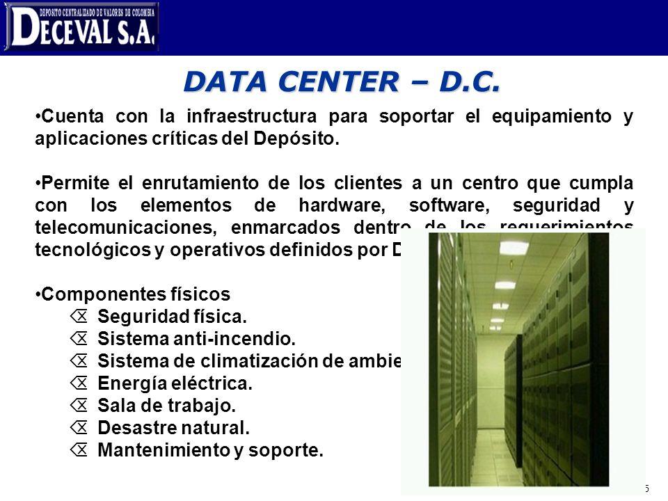 DATA CENTER – D.C.Cuenta con la infraestructura para soportar el equipamiento y aplicaciones críticas del Depósito.
