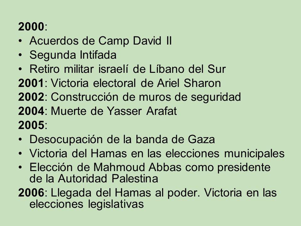 2000: Acuerdos de Camp David II. Segunda Intifada. Retiro militar israelí de Líbano del Sur. 2001: Victoria electoral de Ariel Sharon.