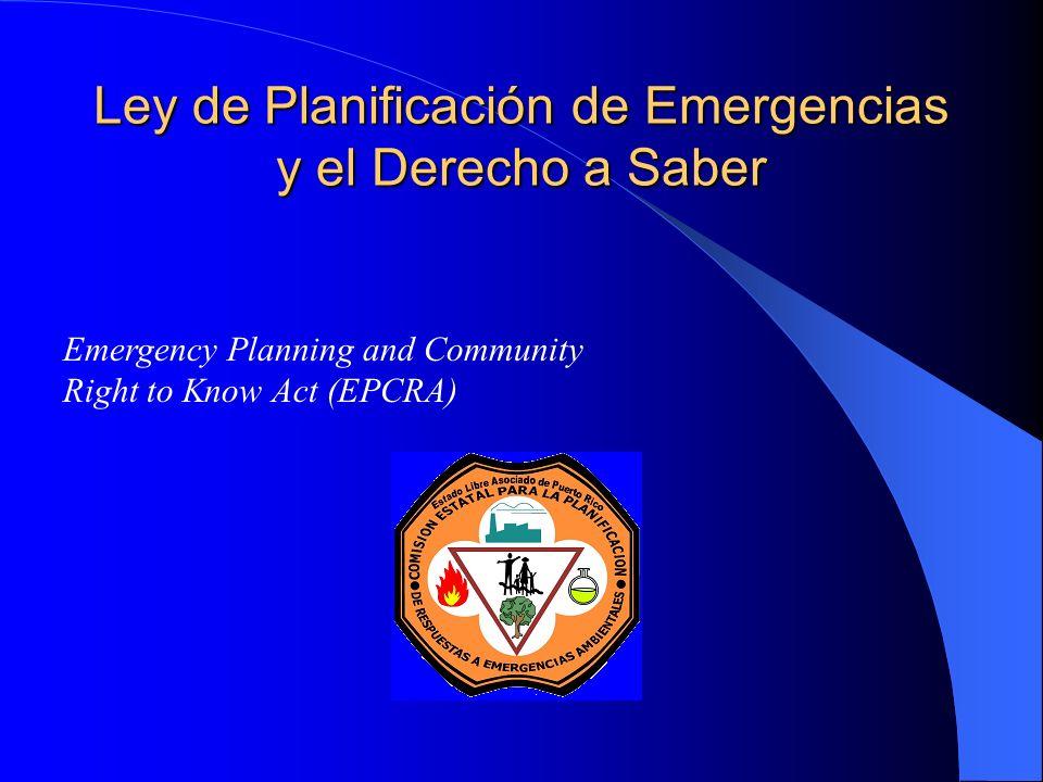 Ley de Planificación de Emergencias y el Derecho a Saber