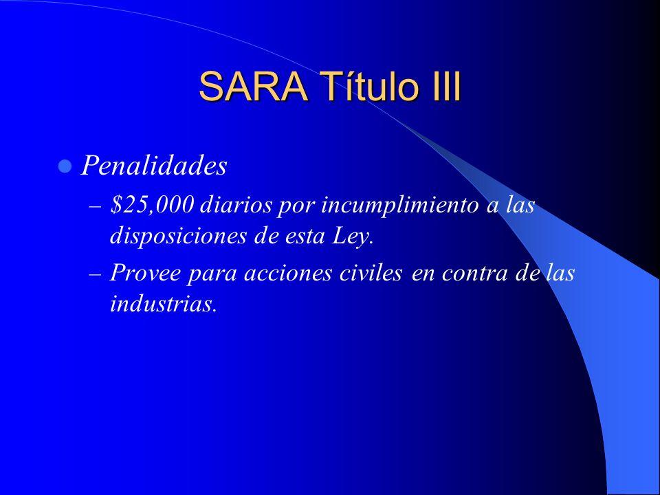 SARA Título III Penalidades