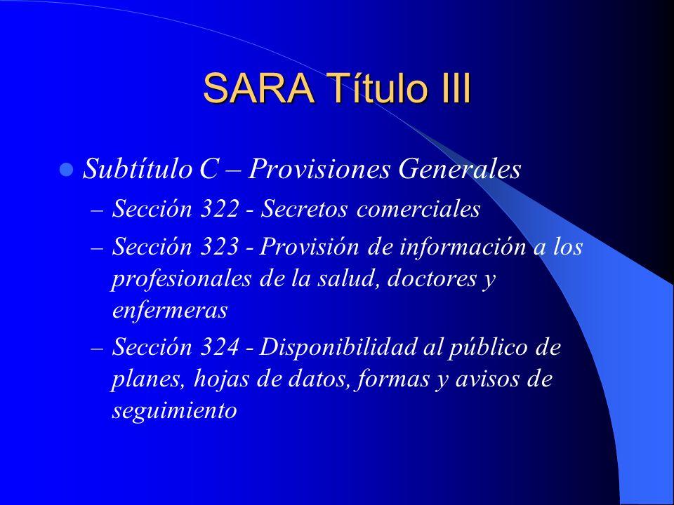 SARA Título III Subtítulo C – Provisiones Generales