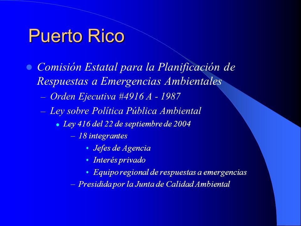 Puerto RicoComisión Estatal para la Planificación de Respuestas a Emergencias Ambientales. Orden Ejecutiva #4916 A - 1987.