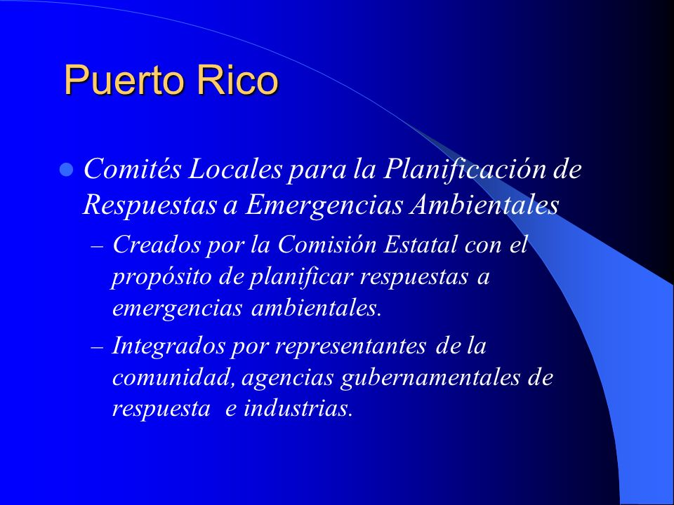 Puerto Rico Comités Locales para la Planificación de Respuestas a Emergencias Ambientales.