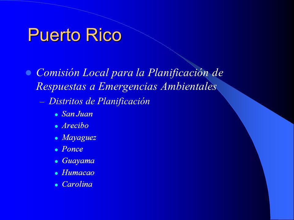 Puerto Rico Comisión Local para la Planificación de Respuestas a Emergencias Ambientales. Distritos de Planificación.