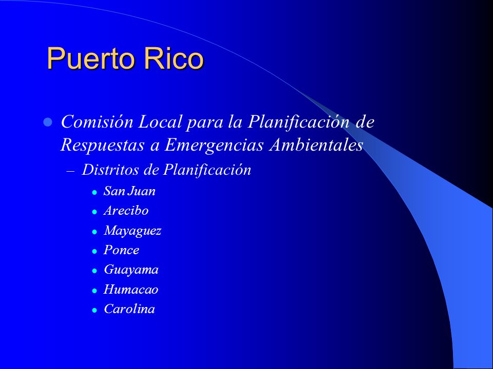 Puerto RicoComisión Local para la Planificación de Respuestas a Emergencias Ambientales. Distritos de Planificación.